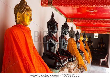 Buddha Statue At Temple In Bangkok Thailand