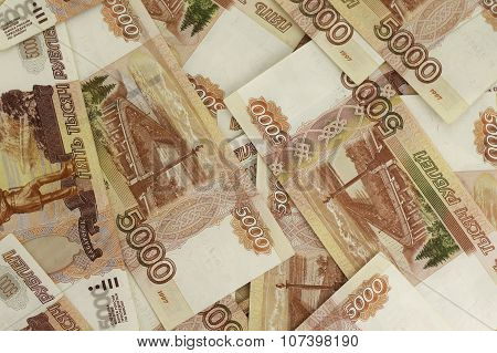 Russian roubles banknotes background