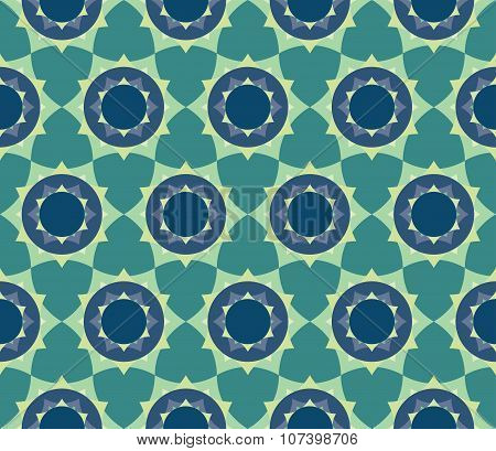 Vector modern seamless colorful geometry petal flower mandala pattern color blue abstract