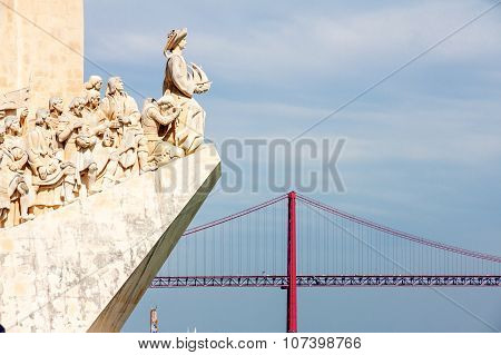 Monument To The Discoveries And April 25Th Bridge In Lisbon, Portugal
