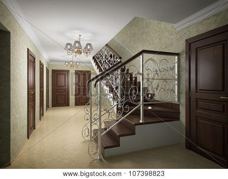 3D Illustration Of Design Of The Ladder Hall