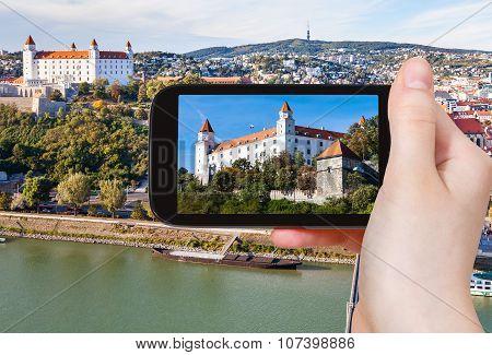 Snapshot Of Bratislava Castle Over Danube River