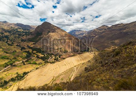 Inca's Terraces In Pisac, Sacred Valley, Peru