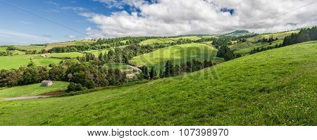 Typical Landscape Panorama In Sao Miguel, Azores Islands