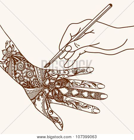 Hand Drawing Mehendi