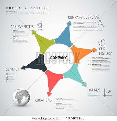 Vector Company infographic overview design template with colorful arrows and icons