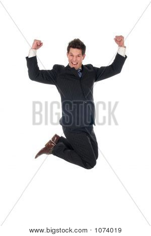 Young Businessman Jumping