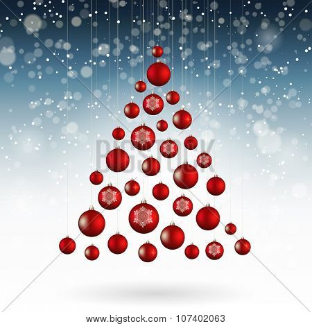 Christmas tree of baubles, vector illustration