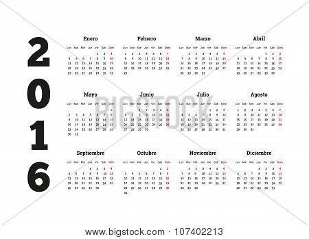 Calendar 2016 year on Spanish language, A4 sheet size
