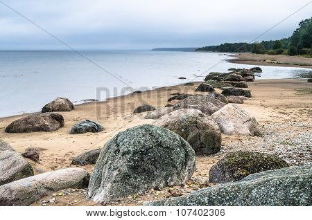 Rocky Beach On The Gulf Of Finland. Sillamae, Estonia