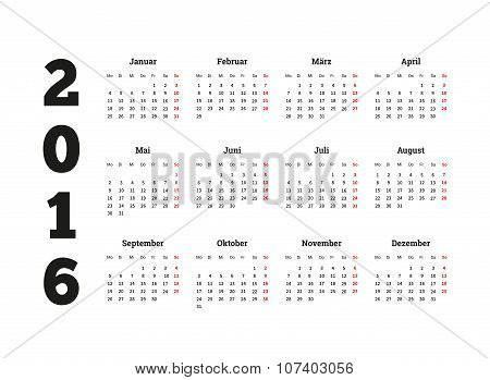 Calendar 2016 year on german language, A4 sheet size