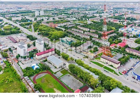 Tyumen city and two TV towers. Russia