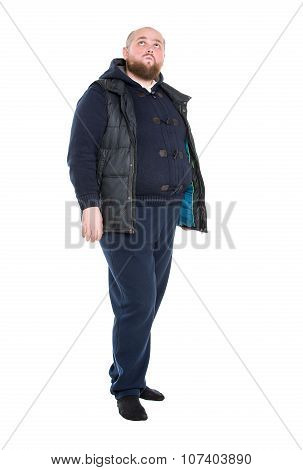 Jolly Fat Man In A Dark Warm Clothes