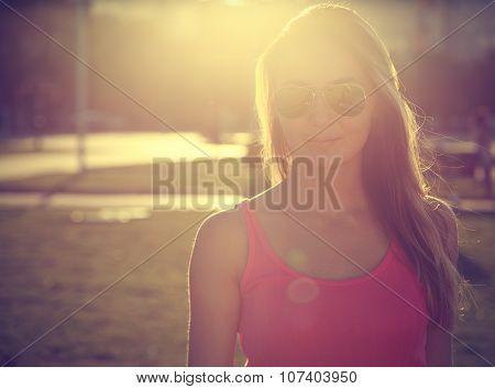 Trendy Girl on Urban Background
