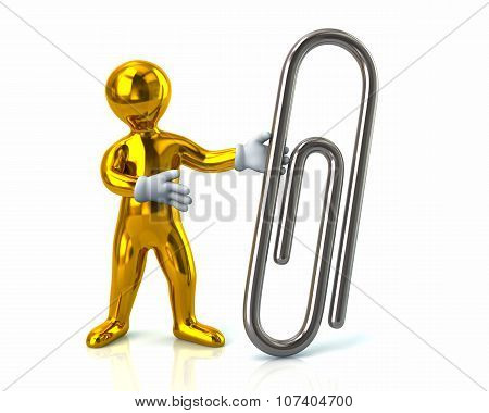 Golden Man And Silver Paper Clip