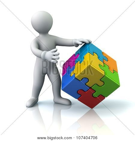 Man And Colorful 3D Puzzle Cube