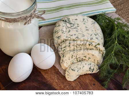 Homemade Cheese With Dill, Milk And Eggs