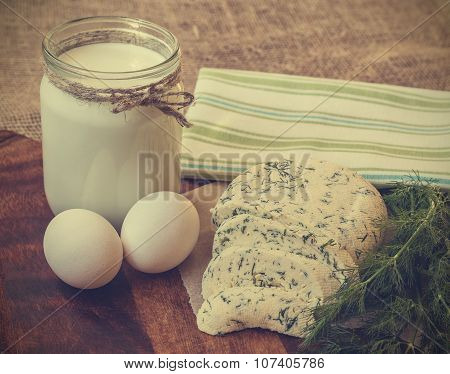 Vintage Photo Of Homemade Cheese With Dill, Milk And Eggs
