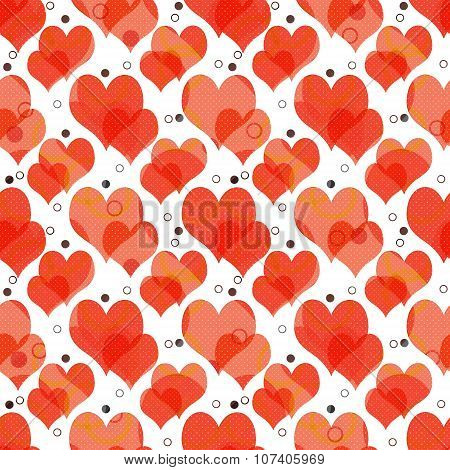 Seamless Retro Pattern With Hearts And Dots Background
