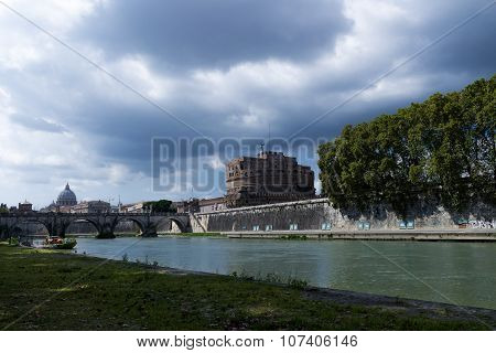View from the Tiber River to the Saint Angelo Castle and the Cystine Chapel in the Background