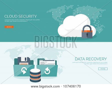 Vector illustration. Flat cloud computing background. Data storage network technology. Multimedia co