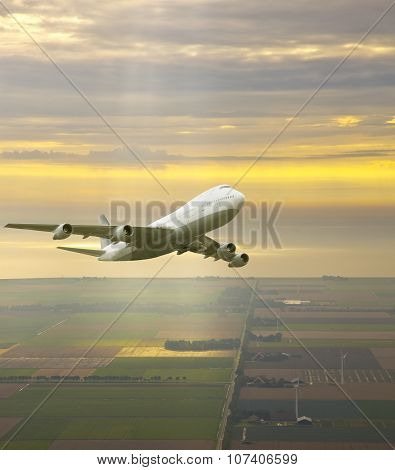 Airplane Flying In  a Beautiful Yellow Sky