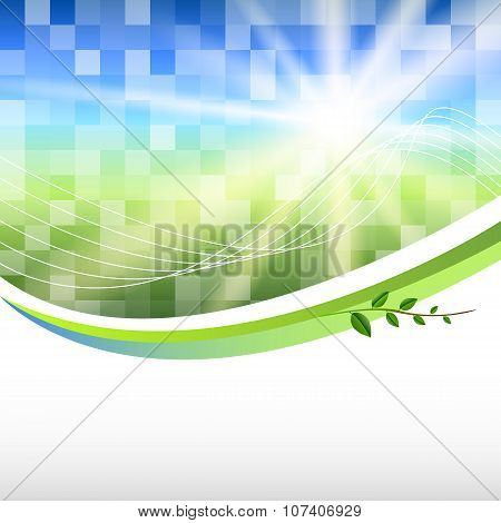 Blue-green-mosaic-background-square-label-product