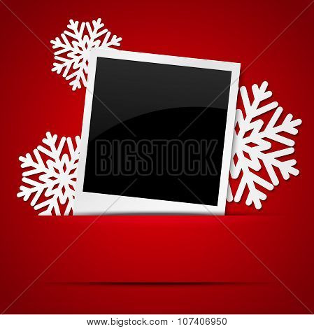 Christmas photo frame with snowflakes