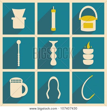 Flat with shadow concept and mobile application hookah icons