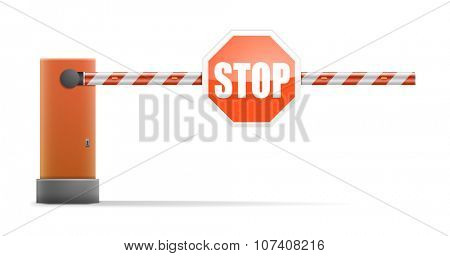 detailed illustration of a car barrier with stop sign, eps10 vector