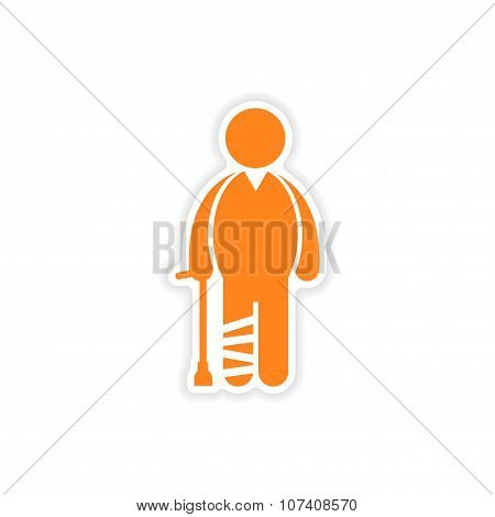paper sticker man with broken leg on white background