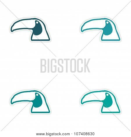 Set of stickers Brazilian toucan on white background