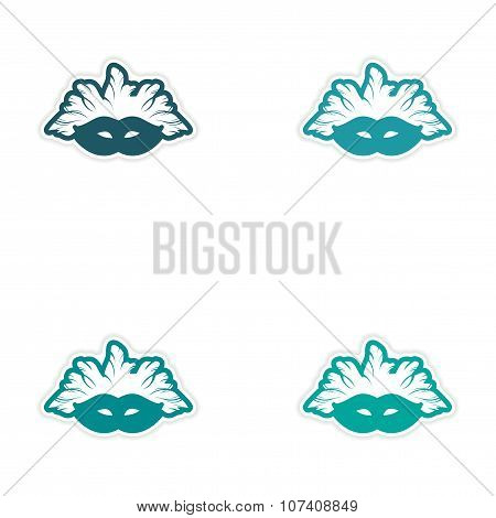 Set of stickers Brazilian carnival mask on white background