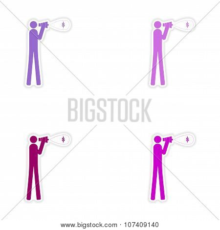 Set of stylish sticker on paper man megaphone money