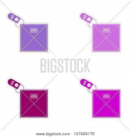 Set of stylish sticker on paper envelope and money