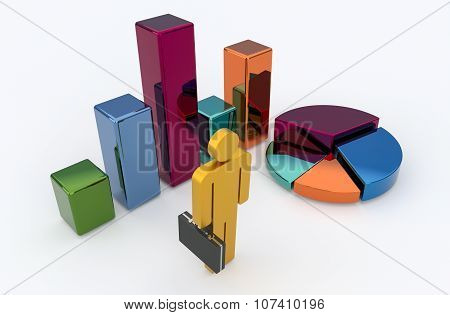 Golden Businessman With Chart And Diagram On White