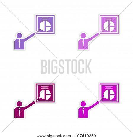 Set of stylish sticker on paper Man and chart