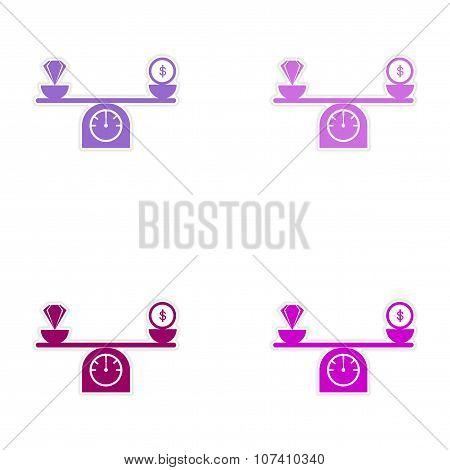 Set of stylish sticker on paper diamonds money on scales