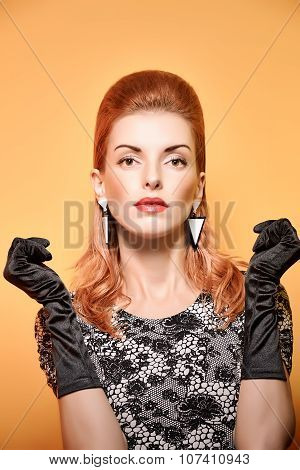 Fashion beauty portrait woman in gloves. Vintage