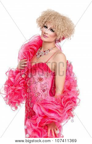 Drag Queen In Pink Evening Dress Performing