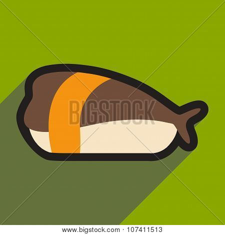 Flat with shadow icon Sashimi with shrimp on stylish background