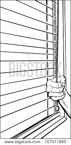 Hand Opening Blinds Outline