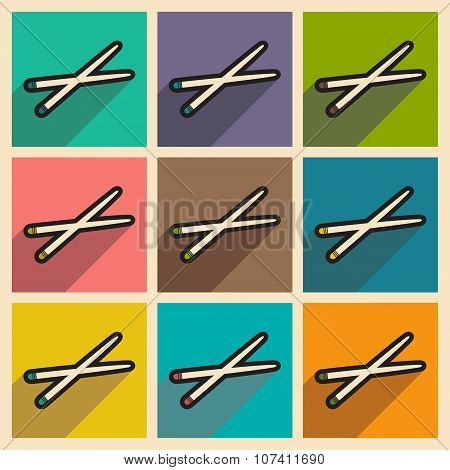 Flat with shadow concept chopsticks stylish background
