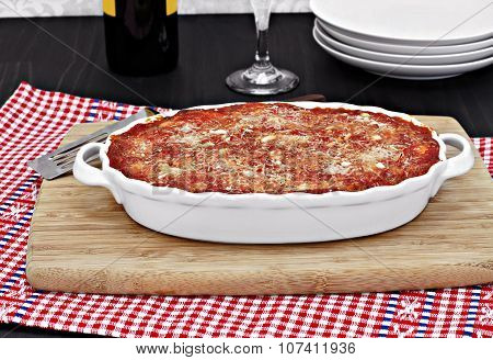 Full Oval White Baking  Pan Of Baked Eggplant Or Lasagna.