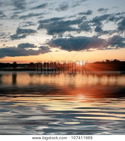 sunset on the river, Central Russia