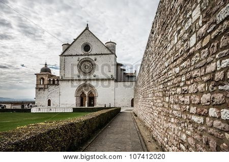 Basilica Of St. Francis Of Assisi With Lower Plaza In Assisi,  Italy