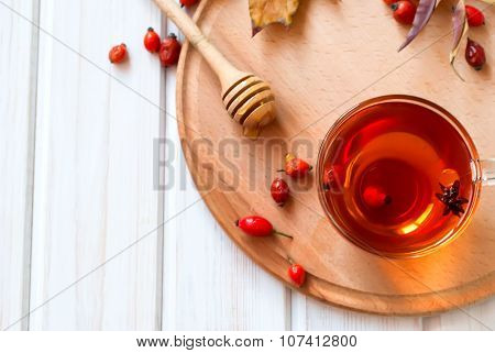 Rosehip Drink With Fresh Berries In A Glass Cup
