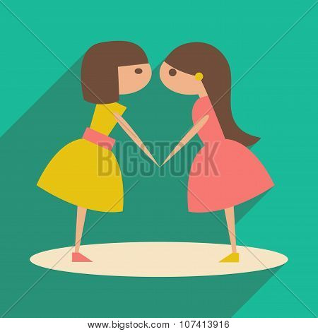 Flat with shadow icon and mobile application girlfriends