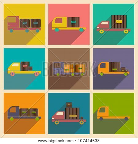 Flat with shadow concept and mobile application car freight logistics