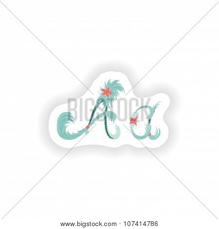 Stiker Abstract letter A logo icon  in Blue tropical style